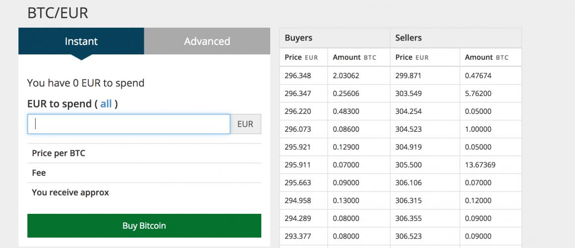 Interfaz de compra de BTC en Justcoin, con la tabla de ofertas de compra y venta de BTC.